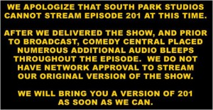 south park website message