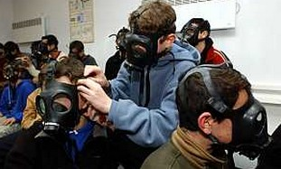 Distributing gas masks in Israel