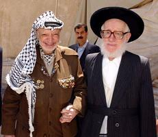 Neturai Karta Leader Rabbi Hirsh with Yasser Arafat
